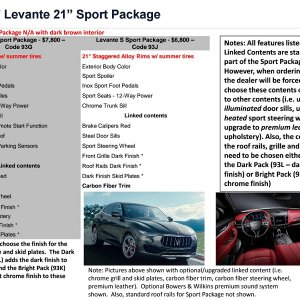 "U.S. Ordering Guide Levante 21"" Sport Package"