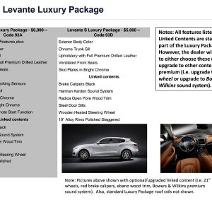 U.S. Ordering Guide Levante Luxury Package